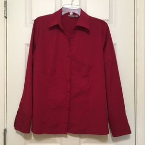 Maroon long sleeve button-down Blouse, wide cuffs